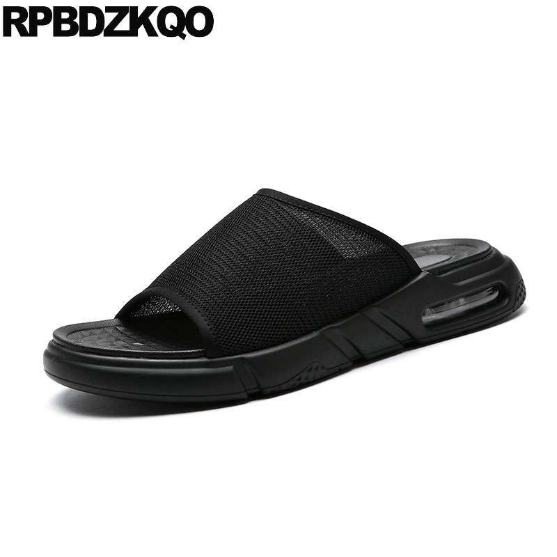 Mesh Shoes Slip On Designer Beach Slippers Casual Black Mens Sandals 2018 Summer Outdoor Flat Fashion Open Toe Men SlidesMesh Shoes Slip On Designer Beach Slippers Casual Black Mens Sandals 2018 Summer Outdoor Flat Fashion Open Toe Men Slides