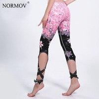 NORMOV Fashion Sporting Push Up Leggings Women Kawaii Cherry Blossoms Legging High Waist Bandage Jeggings Pants
