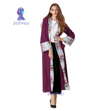 Muslim Linen Abaya Arab Turkish Singapore Jilbab Dubai Dress Muslims Women Floral Print Dresses Islamic dress singapore