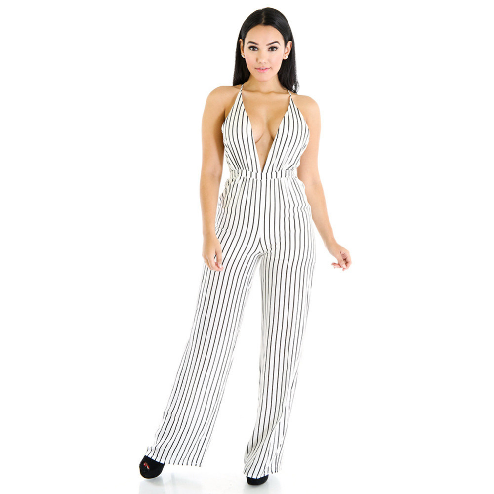 ac943c74795 2016 Summer Women Black White Striped Jumpsuit Sexy Deep V neck Sleeveless  Bandage Jumpsuit Wide Leg Long Pant Rompers Plus Size-in Jumpsuits from  Women s ...