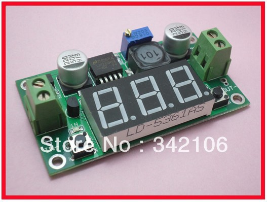 Free Shipping!!!   10pcs DC-DC Adjustable Power Module Power Module LM2596 3A Buck Regulator With Voltage Meter Display