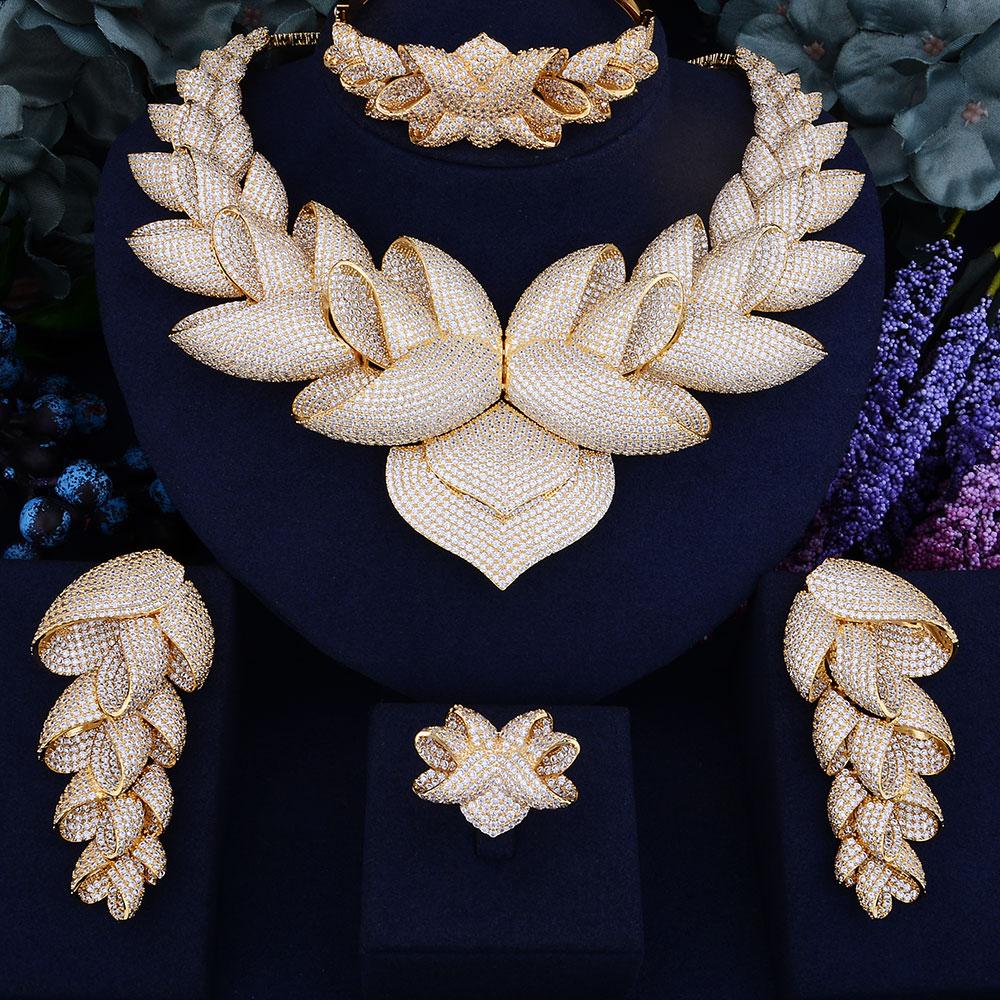 GODKI Luxury Lotus Flower Cubic Zirconia African Indian Necklace Earring Set Dubai Nigerian Wedding jewelry sets