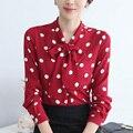 Весной 2017 Горошек Женщины Блузка Шифон Лук Шарф Бордовый Рубашки Карьера Блузка Повседневная Топы Для Женщин С Длинным Рукавом T61227