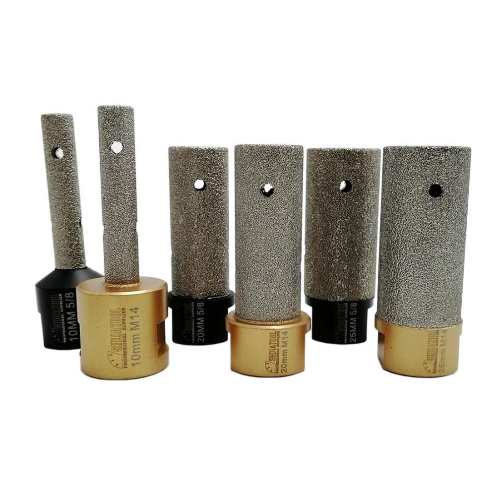 DIATOOL 1 stück 5/8-11 oder M14 Gewinde Vakuum Gelötete Diamant Finger Bit Dia10/20/25mm fräsen Bits Vergrößern form Fliesen Stein-arbeitsplatte