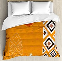 Tribal Duvet Cover Set Ethnic African Design Bold Lines Geometric Triangles Artwork 4 Piece Bedding Set Black Orange and White