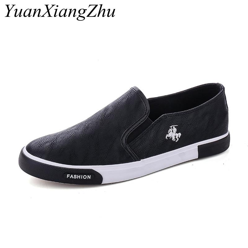 Plus size 39-45 Mens Shoes Outdoor Men Loafers Walking Shoes 2019 Fashion Black Men Casual Shoes Men Leather Shoes For Men Flats