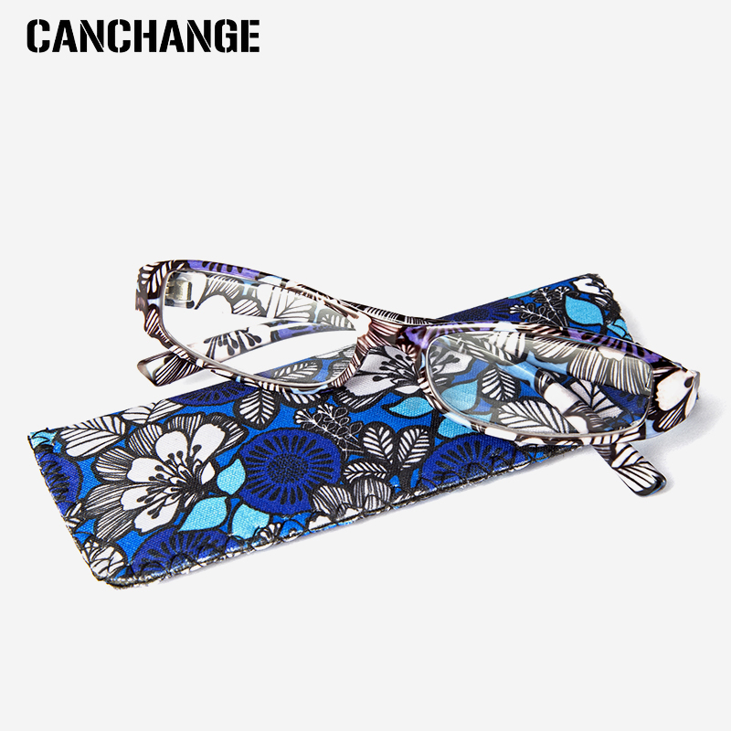 Confident Canchage Printed Reading Glasses Rectangular Presbyopic Reading Glasses Women Men Matching Pouch +1.0 1.5 2.0 2.5 3.0 3.5 4.0