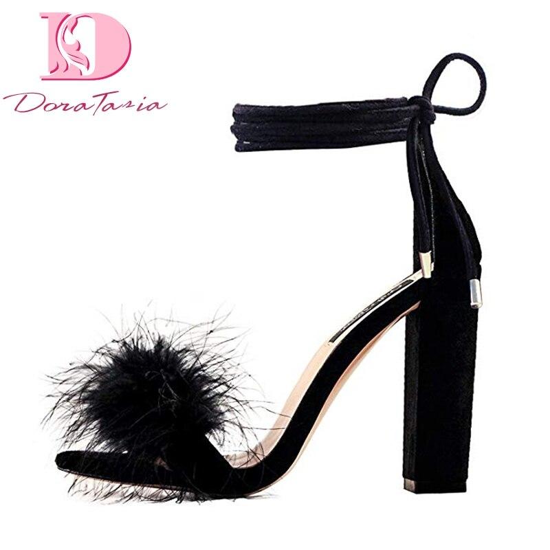 Doratasia nouvelle grande taille 43 offre spéciale plume parti chaussures femme élégant Spike haut talon femmes chaussures d'été cheville-wrap sandales