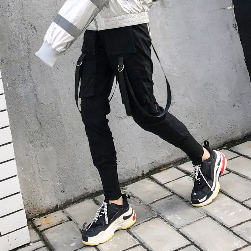 Streetwear Casual Stretch High Waist Solid Big Pocket Pants Unisex 2019 Hip Hop Cargo Jogger Women Pencil Pants Bottom S 3XL