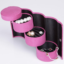3 Layers Jewelry Boxes Display Gift Box Cylinder Organizer Flannel Round Portable Travel Storage Makeup Carrying Case