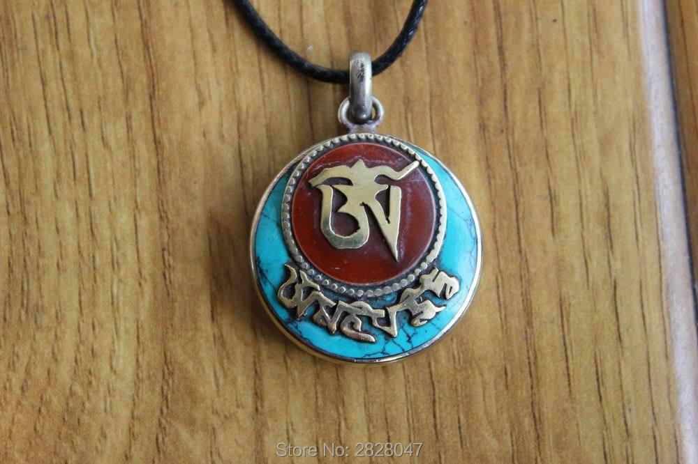 PN928 Tibetan Brass Mantras Semi-precious Stone Prayer Box Amulet Pendant Handmade Nepal 30mm Round Gau Box Women Pendant