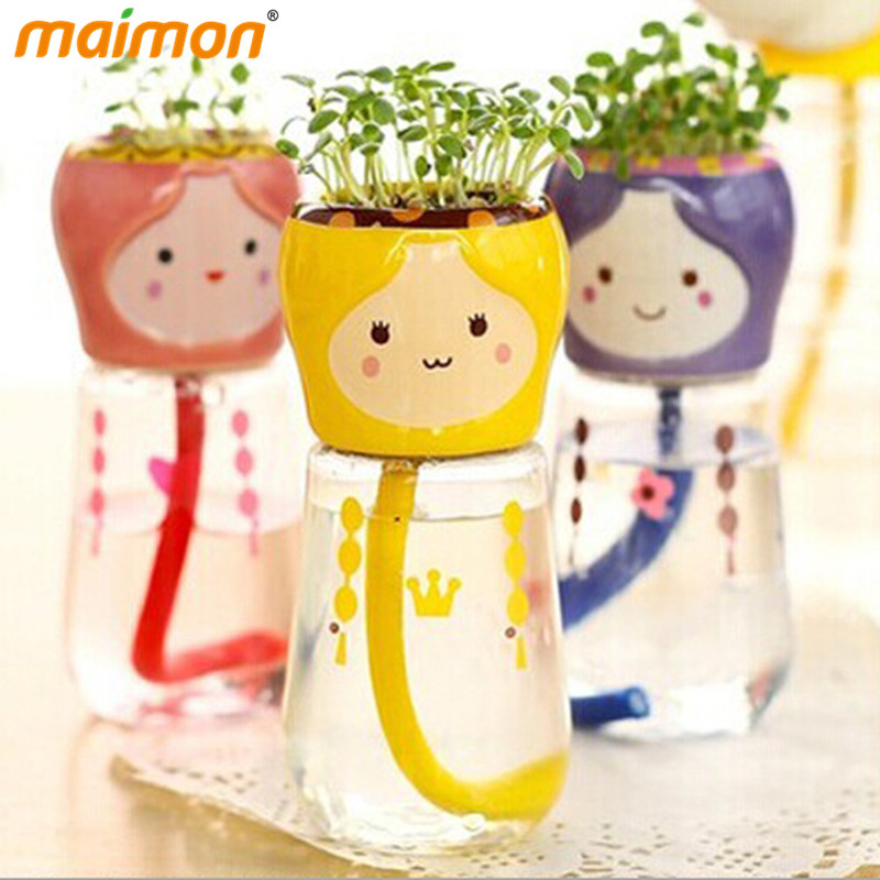 1 piece funny diy mini self watering bonsai with ceramic plants pot and clover seeds beautifying office bonsai grass pots planters mini