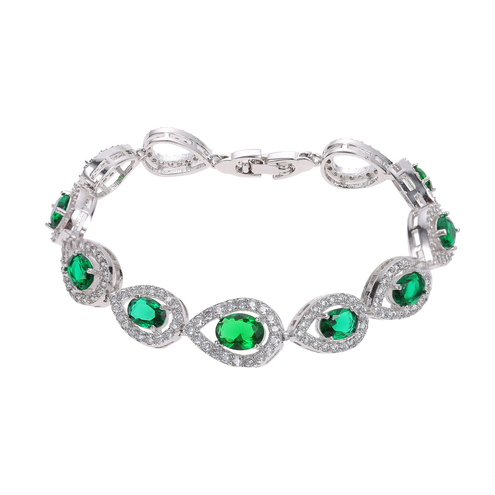 Women Fashion Bracelet Bangle Waterdrop Shape Green Color Gems Female Bracelet Solid 925 Sterling Silver Jewelry Romantic Gift pair of delicate graceful solid color opal embellished waterdrop shape earrings for women