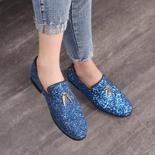 цена на 2019 New Fashion Men Liesure Shine Doug Flat Slip-on Dress Shoes Casual Pointed Toe Solid Color Wedding Loafer Shoes Size 37-48