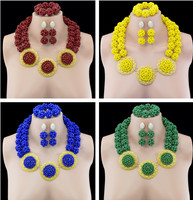 2016 Elegant 18 K Gold Plated Disc African Costume Jewellry Set Nigerian Wedding Bridal Beads Jewelry