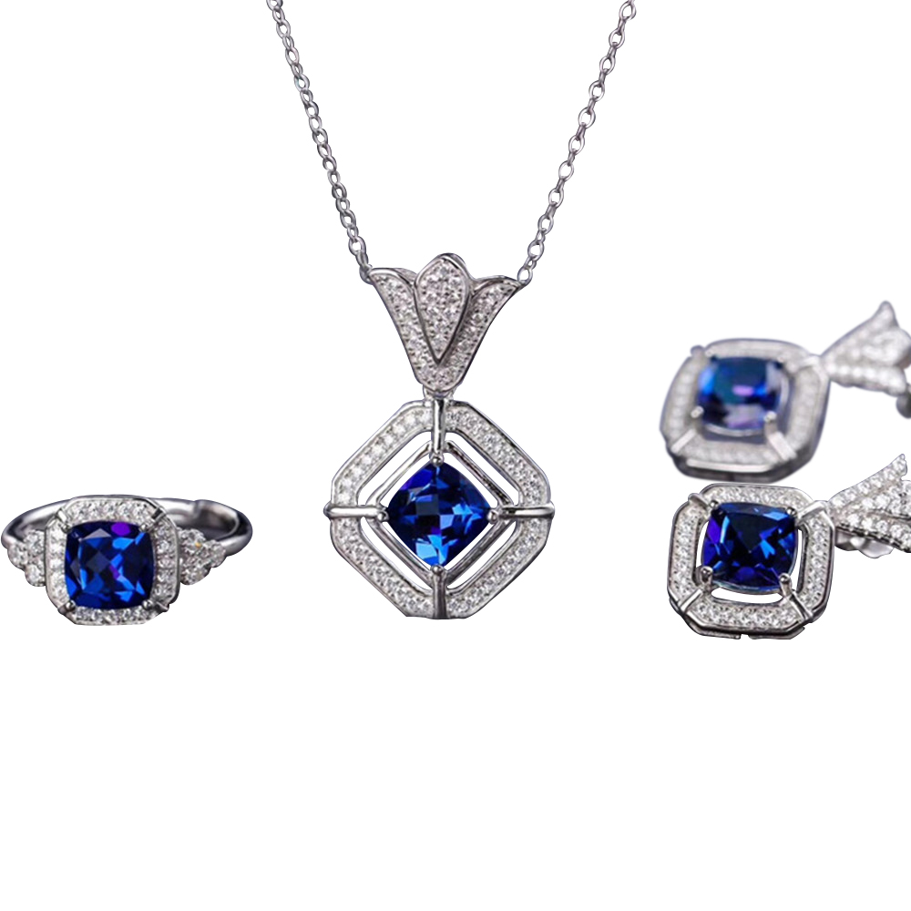 jewelery wholesale new-designed 925 sterling silver natural blue topaz earring necklace pendant ring jewelry set for women