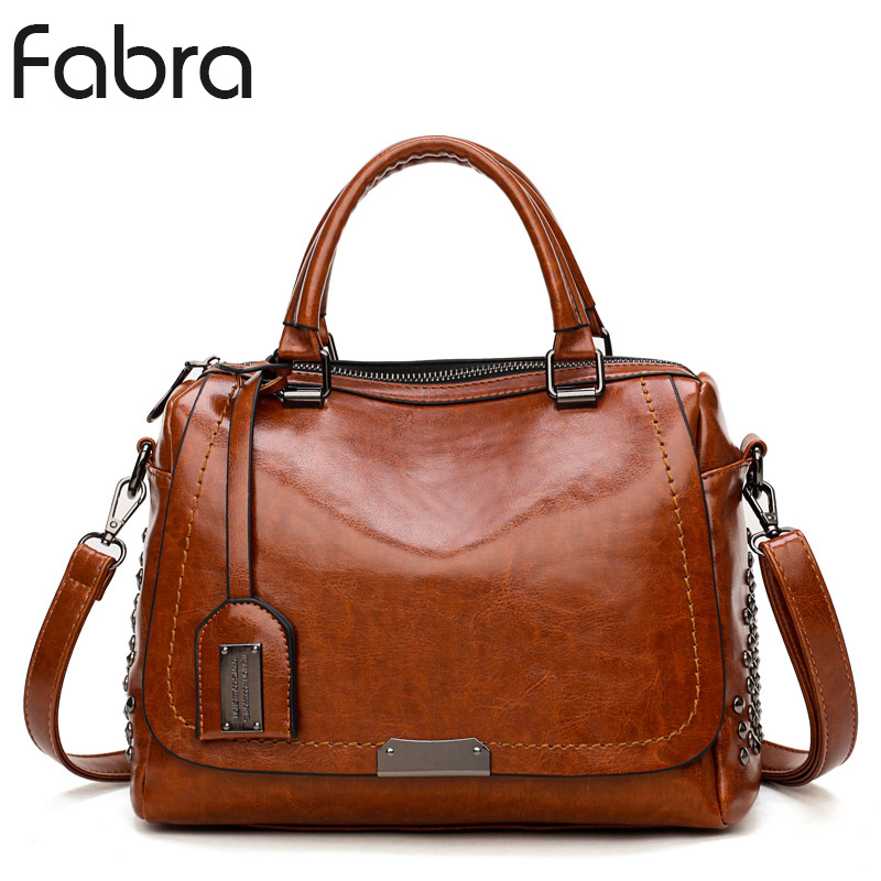 Fabra New Crossbody Bags For Women Messenger Bag Vintage PU Leather Handbags Women Famous Brand Rivet Small Shoulder Bags Brown vintage pu leather bags crossbody bags for women messenger bags handbags women famous brand rivet belt buckle small shoulder sac