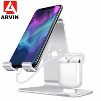 Arvin mobile phone headset charging holder stand lazy bracket aluminumbracket mobile phone headset stand for IPone 8 XR XS XSMAX