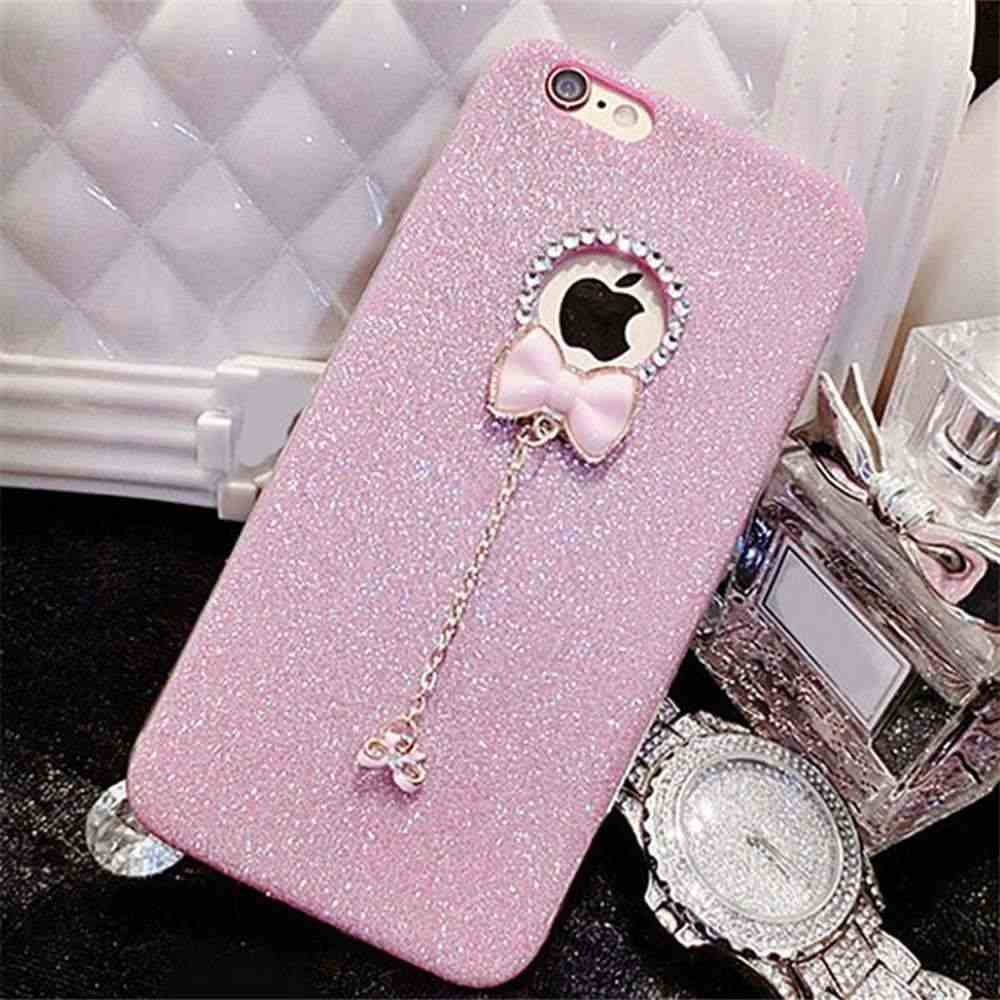 Do Brilho de bling Rosa Caso Borboleta Para o iphone 7 Plus Caso Capa Funda Para iPhone XR 6s plus 10 5S se 5 Soft Case TPU Capa Shell