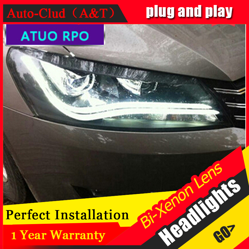 Auto Clud 2011-2015 For vw passat B7 headlights car styling LED light guide DRL bi xenon lens head lamps H7 car parking