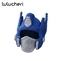 Transformer Crocheted Optimus Prime Helmet Winter Warm Hat Funny Knitting Caps For Adults Kids Halloween Christmas Accessories