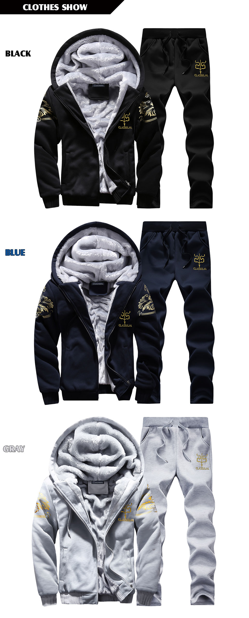 Men's Sportswear Casual Winter Warm Hooded Tracksuit Men Two Piece Sets Suit with Hood 2PC Fleece Thick Jacket + Pants Male 4XL 5