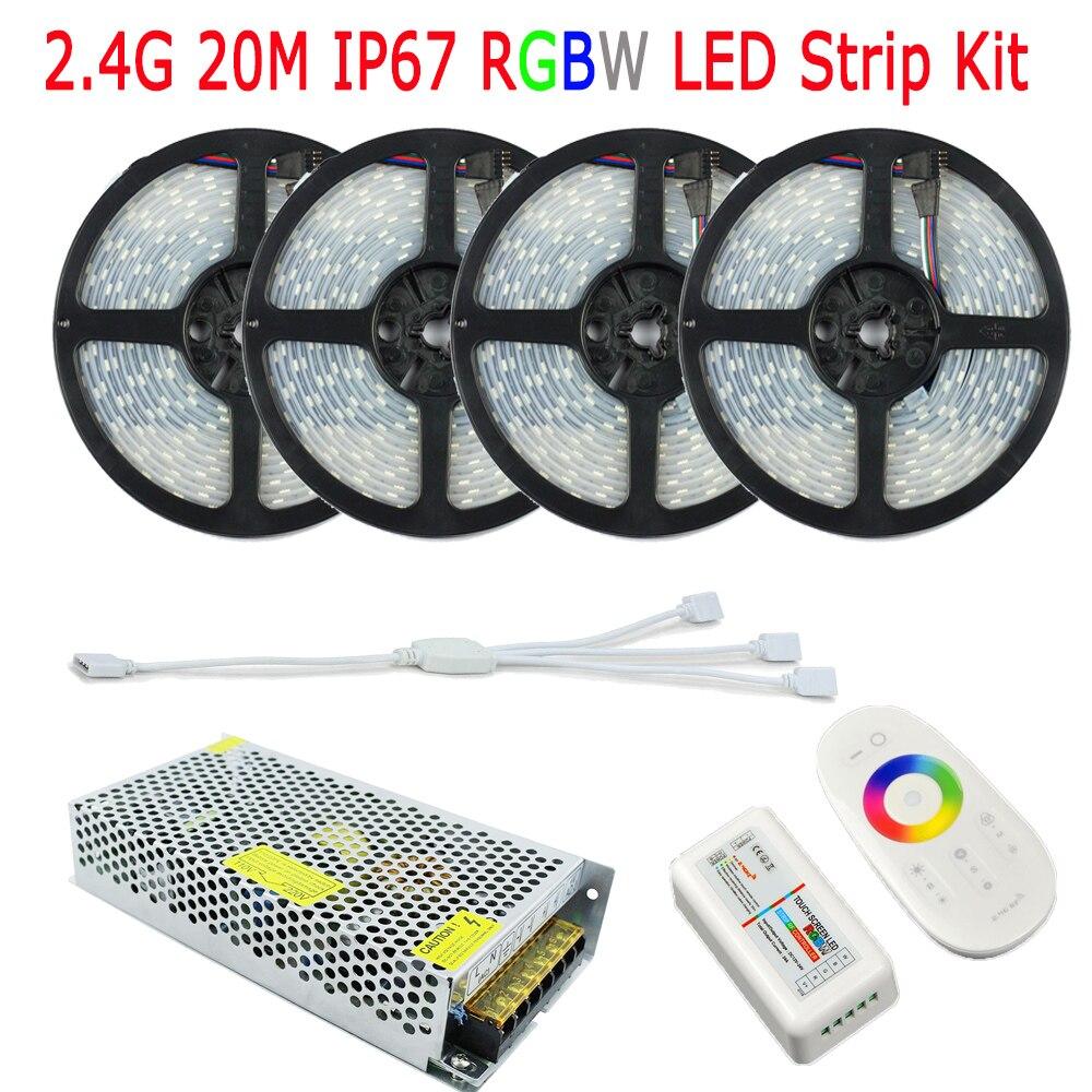 20 M 15 M 10 M RGBW LED bande 5050 IP67 Tube De silicium étanche Fita De LED 12 V 2.4G RF sans fil RGBW télécommande 15A puissance