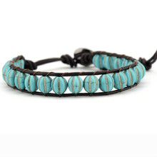 Leather Bracelets Green Turquoises 1 Layer Beaded Wrap Bracelet for Men Women Handmade Boho Jewelry
