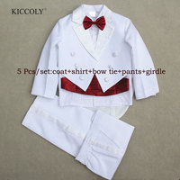 Baby Boys Suits 5 Pieces Formal Tuxedo Suit Brand Newborn Baby Boy Baptism Christening Gown Infant Party Wedding Clothing Set