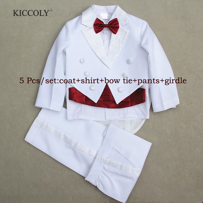 Baby Boys Suits 5 Pieces Formal Tuxedo Suit Brand Newborn Baby Boy Baptism Christening Gown Infant Party Wedding Clothing Set 2016 baby boy party suit 2pcs white gentleman suit striped romper infant boys clothes newborn clothing set terno infantil