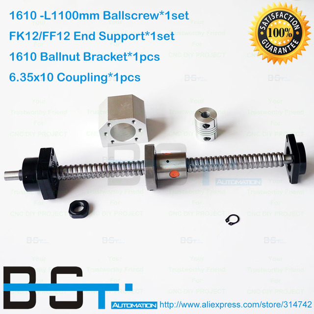 Rolled Ballscrew RM1610 - L1100mm Ball screw + SFU1610 Ballnut + FK12 FF12 End Support + 1610 Ballnut Bracket + 6.35*10 Coupler