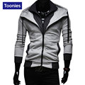 New Fashion Mens Coat Sweatshits Outwear Hit Color Leisure Slim Hooded Hoodies Zipper Coat Plus Cashmere Thickness Man Hoodies