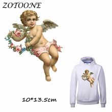 ZOTOONE Cute Angel Flower Patch Iron on Transfer Patches for Clothing Beaded Applique Baby Clothes DIY Accessory Decoration C