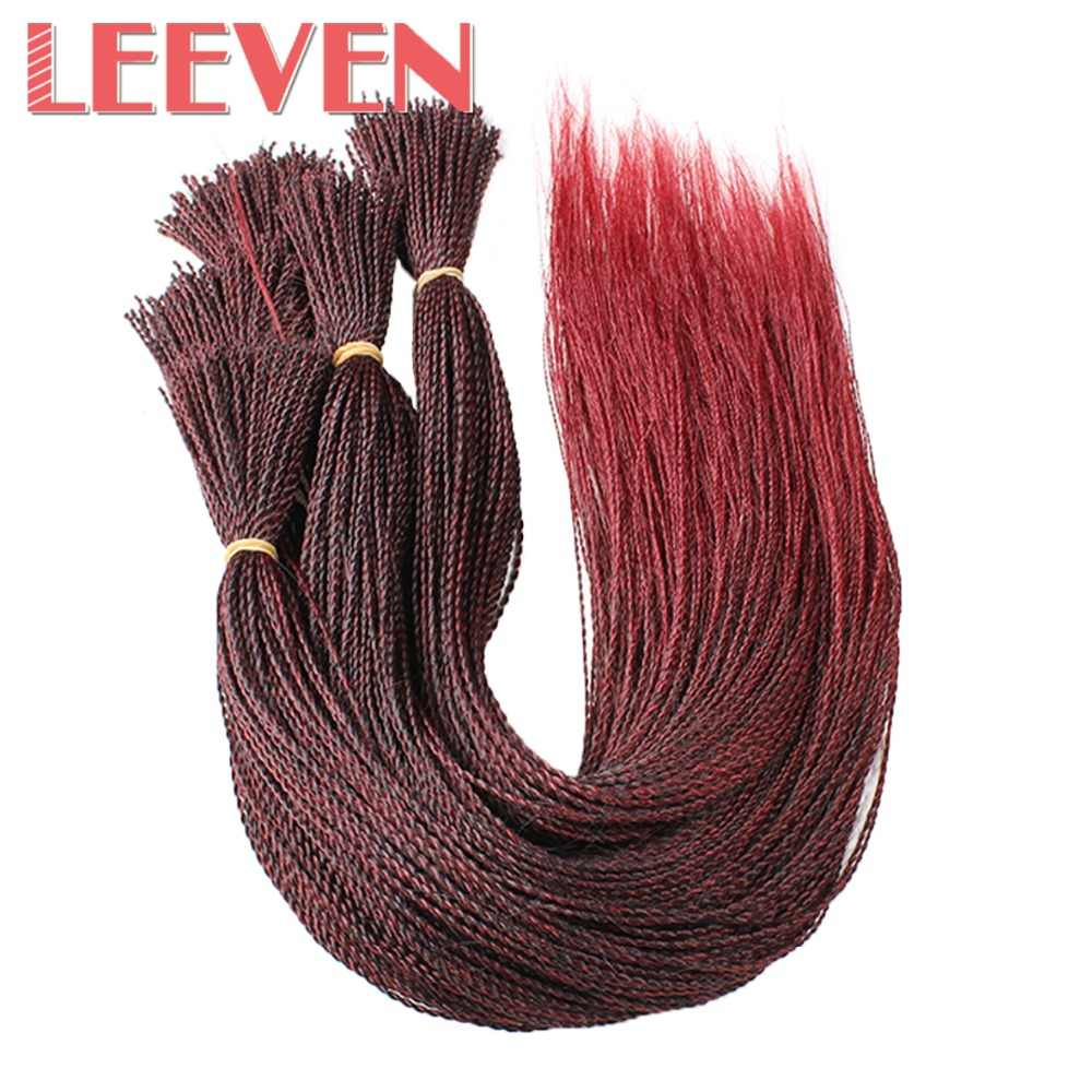 Leeven 22Inch Senegalese Twist Crochet Braids Hair Million braids Ombre Black Brown Synthetic Braiding Hair Made Into Wigs