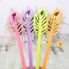 Cute Kawaii Feather Plastic Gel Pen Creative Crystal Gem Pendant Pens For Writing Korean Stationery Free Shipping 3619