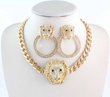 Free Shipping New Fashion Gold Rhinestone Hoop Lion Necklace And Stud Earrings For Women