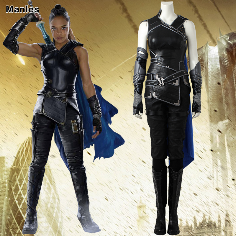 NEW ARRIVAL Thor 3 Ragnarok Valkyrie Cosplay Costume Cape Outfit Shoes Boots