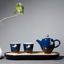 Japanese Style Hand Painted Tea Sets With Tray High Quality Vintage Porcelain Pot Kung Fu Ceramic Cups And Saucer