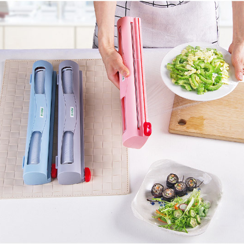Food Wrap Dispenser/Cutter, Kitchen Tool Foil Cling Film Wrap Dispenser Plastic Sharp Cutter Storage Holder HA