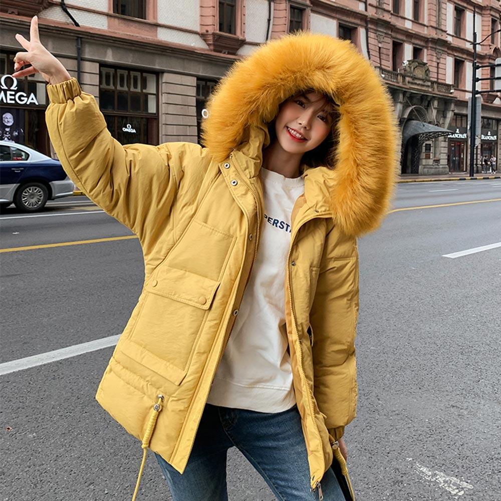 2019 Winter New Down jacket women   Parka   Fashion Thick warm Big fur collar Hooded Bat sleeve Cotton coat Loose Ladies padded coat