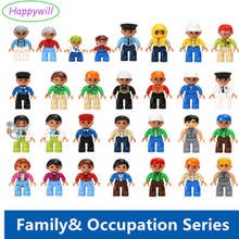 Happywill 1pc Profession Dolls  big Building Blocks Figures Soldier Family Castle Members Pirate Princess Duplo DIY  Kids Toys