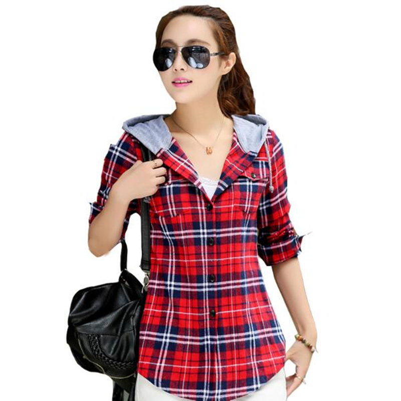 FEKEHA M-XXL 2019 Ladies Blouses Summer Two Pockets Casual Cotton Hoodies Plaid Shirts Women Cotton Blusas Feminina Women Tops