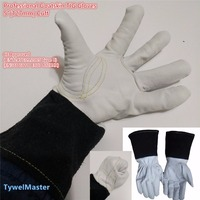 Premium TIG MIG Welding Glove Grain Goatskin 5 127mm Cuff Split Cowhide Leather KEVLAR Seamless Finger