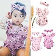 купить 2PCS Newborn Infant Toddler Baby Girls Romper Bodysuit Jumpsuit Clothes Outfits дешево