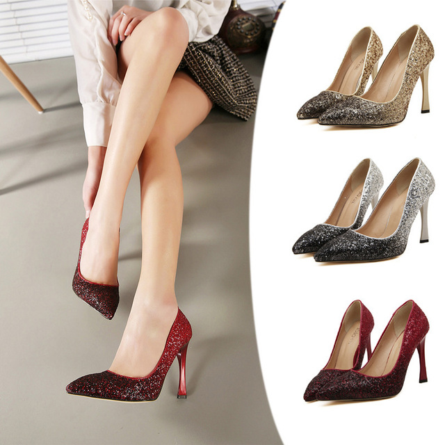 a0744f9fa04c New 2015 Burgundy Pumps for Women Wine Red Wedding Shoes Gold Color  Gradient Glitter High Heels Pointed Toe Big Size 35-40