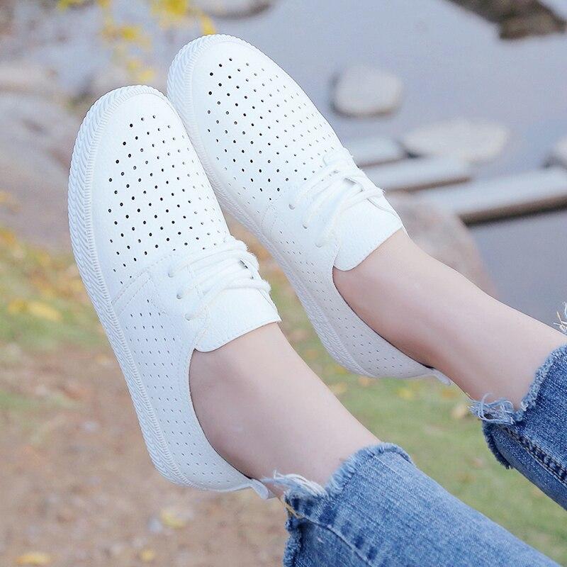 2018 Señoras Casuales Primavera Mujeres Mesh Las Planos Nuevas Mocasines De Zapatos White Blanco Verano Para Cuero Pu La Cordones Mujer rXrqdw0x6