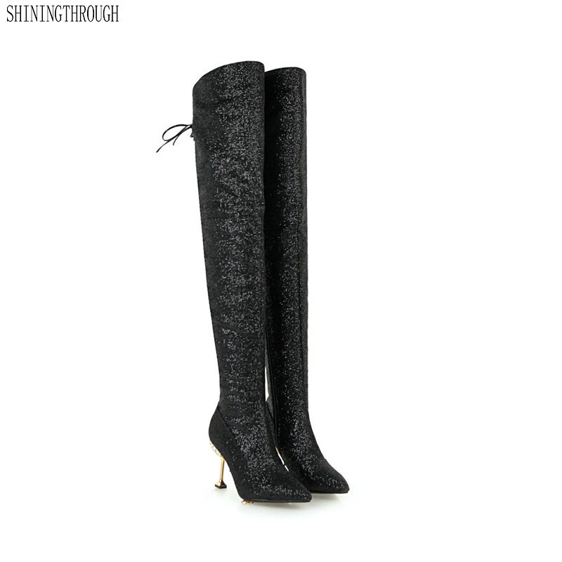New women over the knee high boots shiny bling high heels winter warm dancing shoes ladies party dress wedding boots woman цена