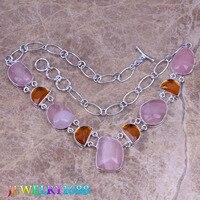 Captivating Pink Natural Stone Brown Morganite 925 Sterling Silver Grade Necklace L555