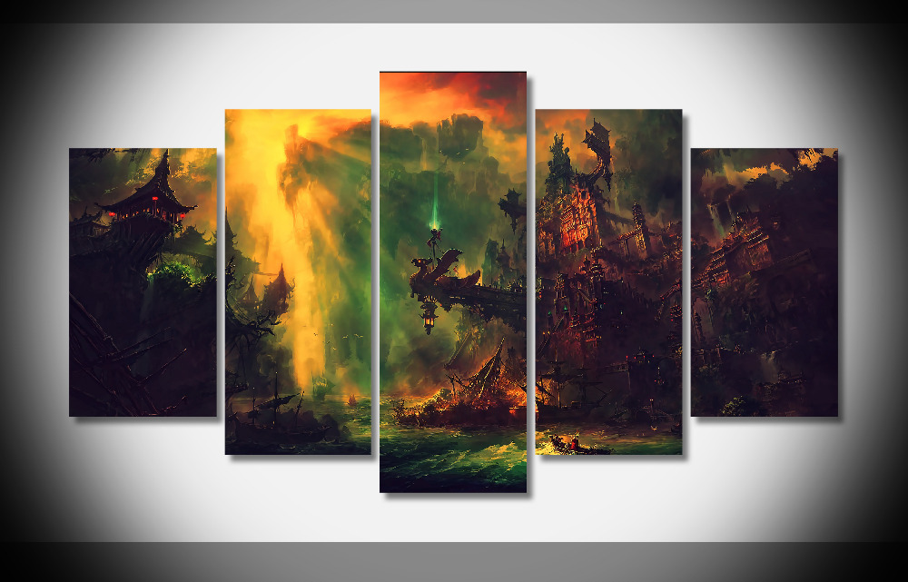 7349 photoshop fantasie leinwand wand kunst fluss boot Poster ...