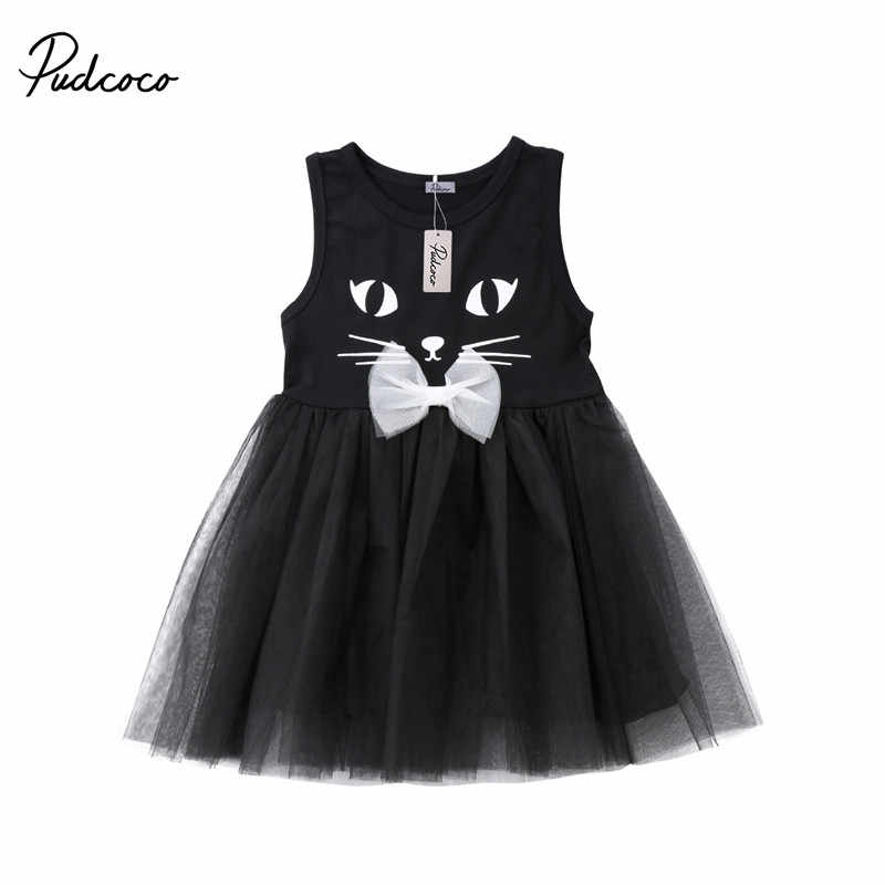 7e237cf65a Girls Dresses 2018 Brand New Summer Children dresses Black Cat Print ...